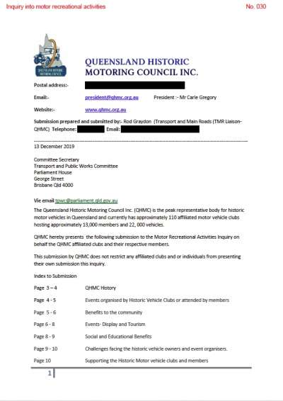 JDCQ submission to Motor Recreational Activities Inquiry